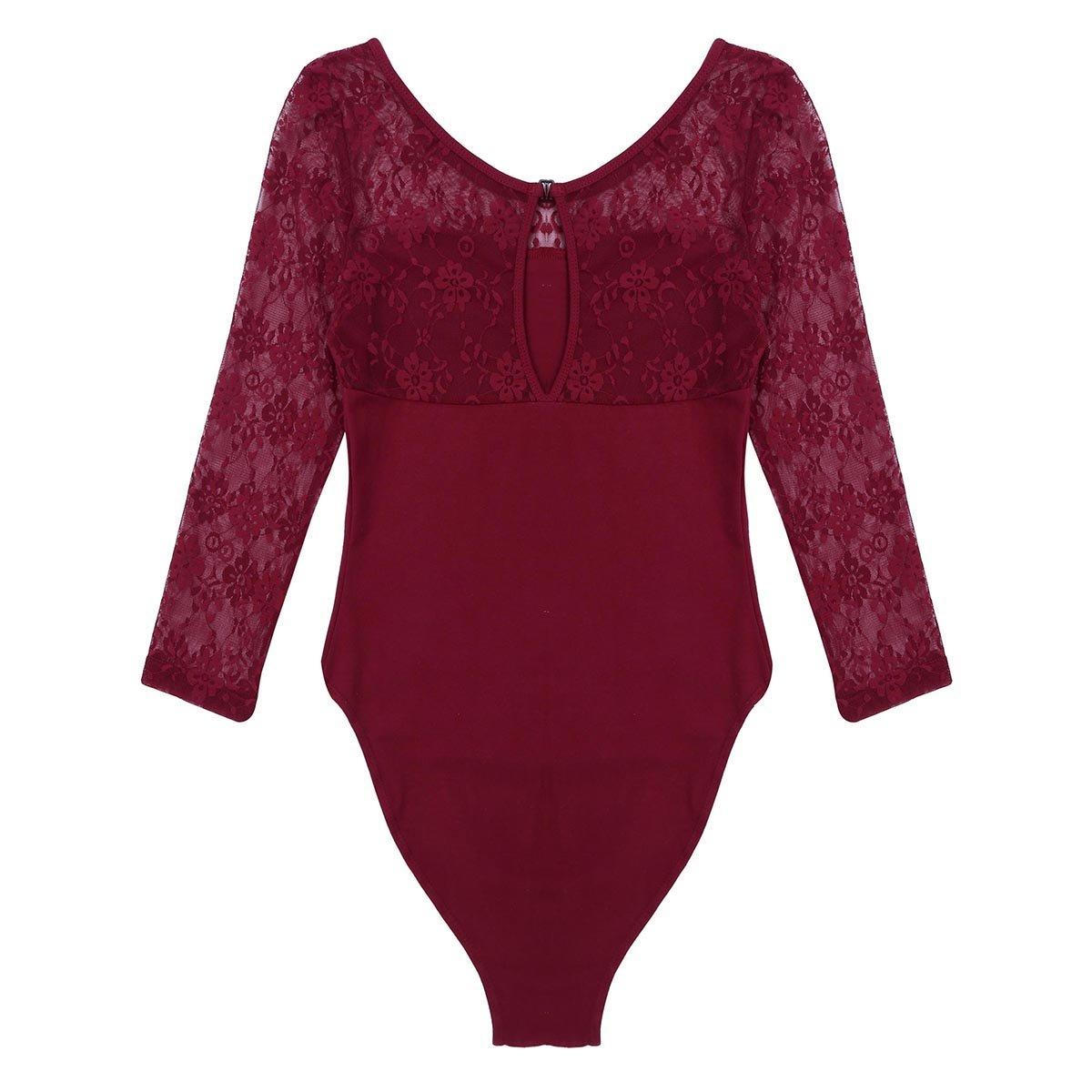 Agoky Womens Soft Lace 3//4 Sleeve Gymnastics Leotard Tops Ballet Dance Bodysuit Stretch Camisole