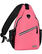 Mosiso Sling Backpack, Durable Polyester Water Repellent Chest Shoulder Unbalance Gym Fanny Lightweight Crossbody Sack Satchel Outdoor Hiking Bag for Men Women Girls Boys Travel Daypack