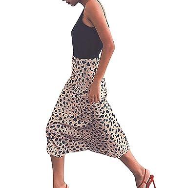 beautyjourney Falda de Mujer de Leopardo Delgada Falda de Cintura ...