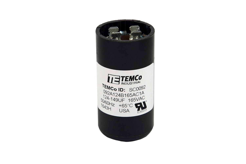 TEMCo Motor Start Capacitor SC0092-124-149 mfd 165 V VAC Volt 124-149 uf Round HVAC AC Electric