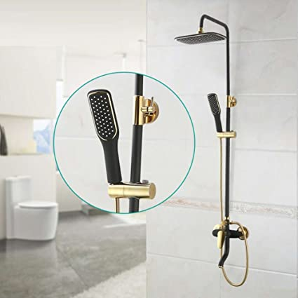 Height Adjustable Rainfall Shower System, Top Shower Head And Handle ...