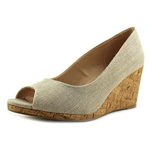 934acf26de5 Kelly   Katie Kaydena Women US 6 Silver Peep Toe Wedge Heel  Amazon ...