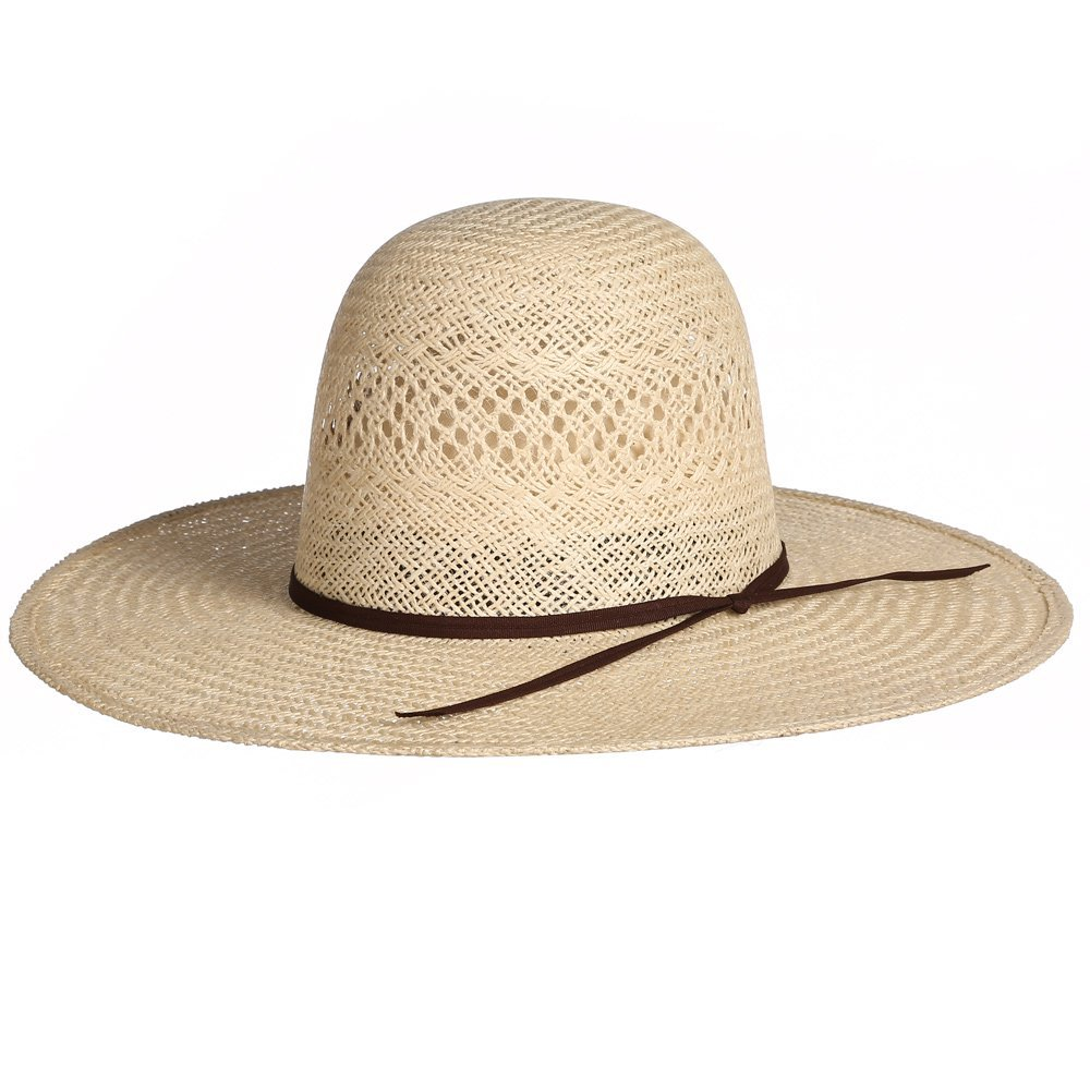 RODEO KING Womens Jute Open Crown 4 1/2 Brim Straw Cowboy Hat 75/8 Natural