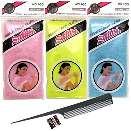 Price comparison product image COTU (R) Hair Comb (1 pc) and Authentic Genuine Salux Nylon Japanese Bath Towel - Blue & Yellow & Pink Color (1 of each Color) Combo Pack