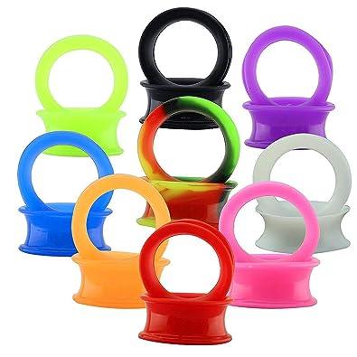 ZeSen Jewelry 9 Par de Silicona Flexible y Delgado enchufes de oído de los túneles de