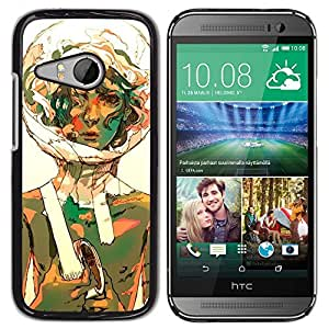 Be Good Phone Accessory // Dura Cáscara cubierta Protectora Caso Carcasa Funda de Protección para HTC ONE MINI 2 / M8 MINI // Bubble Portrait Art Space Suit Girl Curly