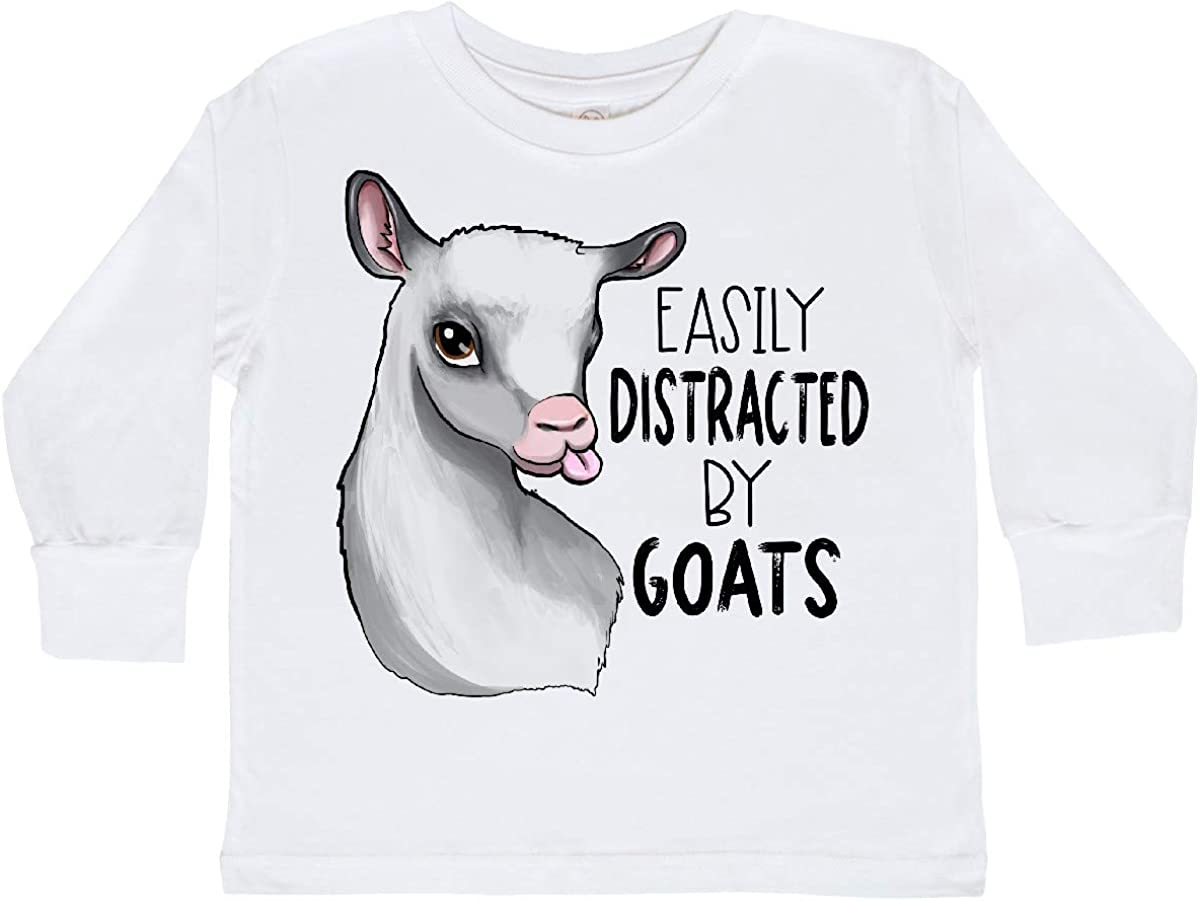 inktastic Easily Distracted by Goats Cute Goat Toddler Long Sleeve T-Shirt