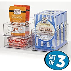 mDesign Kitchen Storage Bins, Storage for Fridge, Freezer, Pantry (Set of 3) - Clear