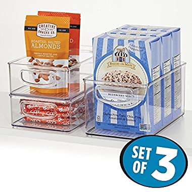 mDesign Kitchen, Pantry, Refrigerator, Freezer Storage Organization Bins - Set of 3, Clear