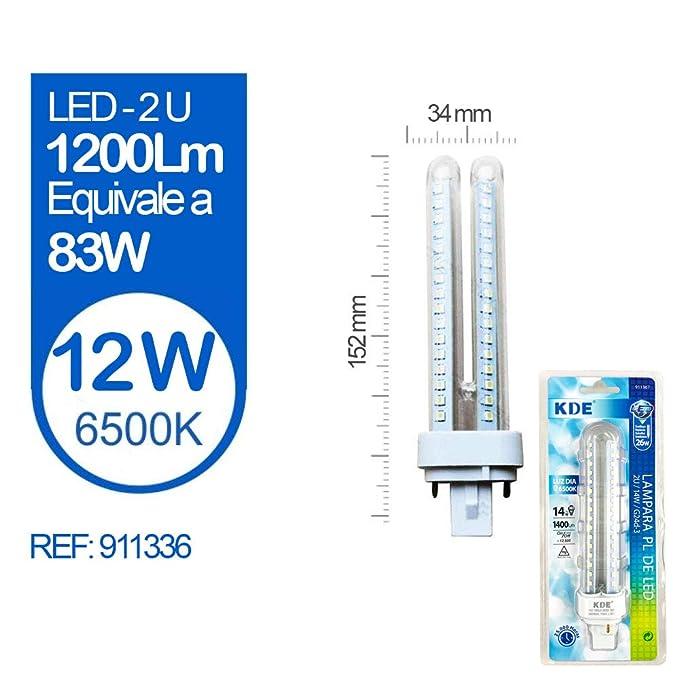 Pack 10 Bombillas LED - KDE LED 911336 Bombilla LED 2U G24D-2 12W=83W LUZ DÍA 6500K 1200Lm [Clase de eficiencia energética A+] [Clase de eficiencia ...