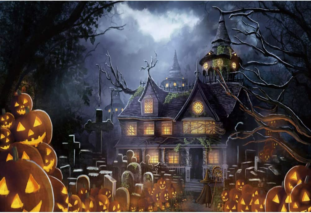 Laeacco Halloween Tomb Hanuted House Castle Background Parties Backdrop 10x7ft Vinyl Photography Background Scary Night Children Trick Party Decor Backdrops