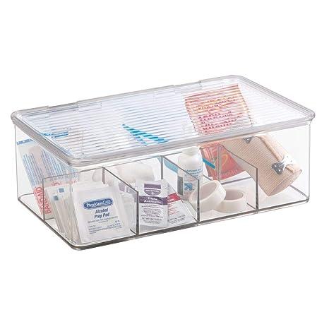 mDesign Organizador de plástico Multiuso Caja para medicamentos o para organizar vitaminas o Suplementos - con Ocho divisiones - En Color Transparente