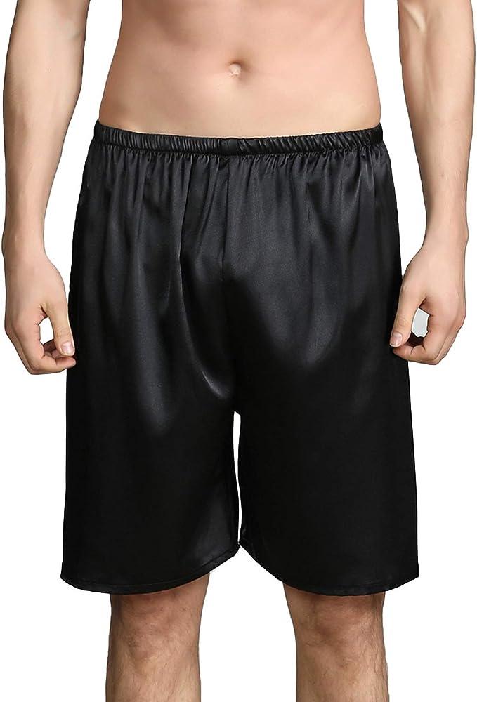Chic Men Shorts Knee Length Short Pants Simple Male Sleepwear Comfy Home Pajamas