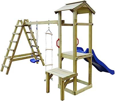 vidaXL Parque Infantil con Tobogán Escaleras y Columpio Madera Juego de Niños: Amazon.es: Juguetes y juegos