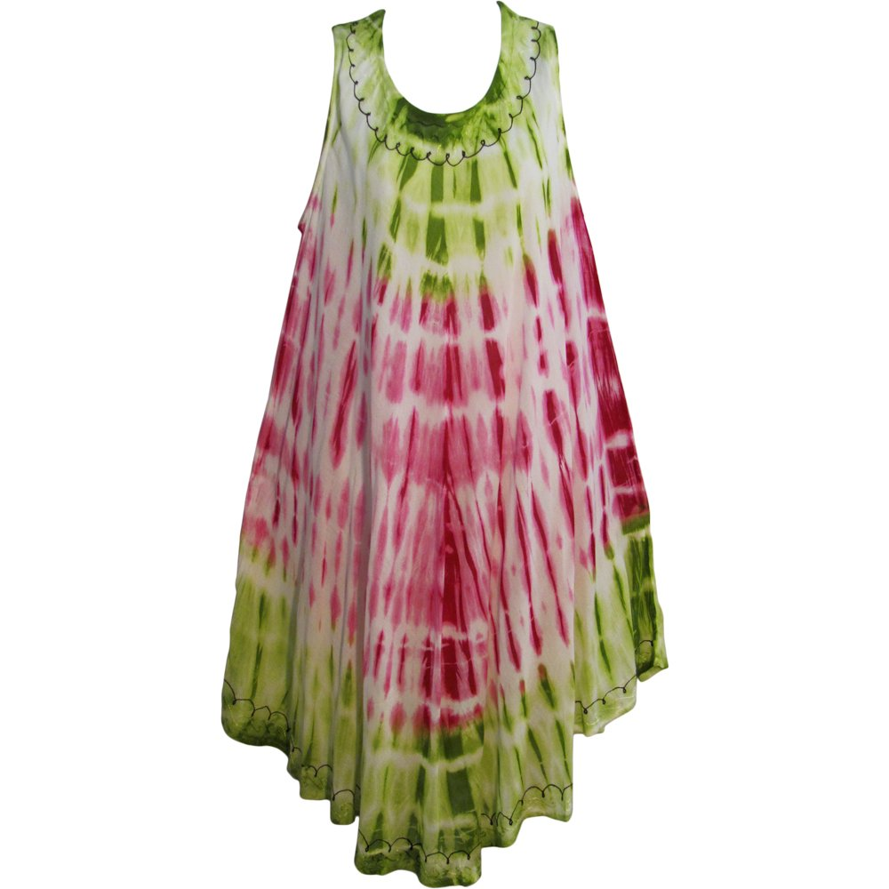 a4d099f81a4a Indian Bohemian Tie-Dye Embroidered Sleeveless Caftan Sun Dress BINA ( 1)  at Amazon Women s Clothing store