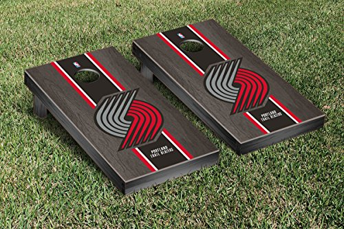 Portland Blazers Trailblazers NBA Basketball Regulation Cornhole Game Set Onyx Stained Stripe Version by Victory Tailgate