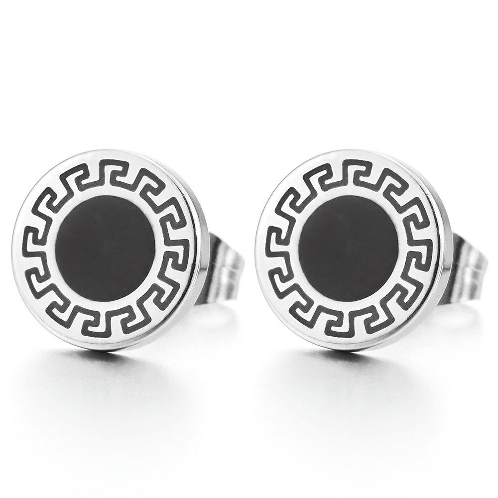 10mm Mens Womens Circle Stud Earrings Stainless Steel with Greek Key Pattern and Black Enamel COOLSTEELANDBEYOND ME-1342-EU