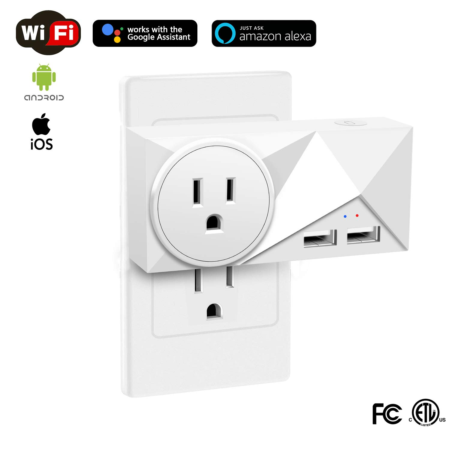 Wsiiroon WiFi Smart Plug, 15A Mini Power Socket Dual USB Outlets with Energy Monitoring Wireless Remote Control Appliances Compatible with Amazon Alexa and Google Assistant, Timing Function