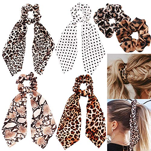 6 Pack Leopard Print Big & Long Scrunchie Hair Scarf, Polka Dot Snake Skin, Ribbon Chiffon Strong Elastic Hair Bands Rope Scrunchy, Bun Hair Ties Bobbles, Scarves for Women Girls, Bow Ponytail Holder ()