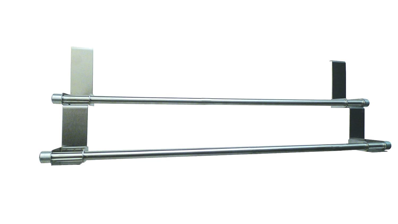 Zeller 13894 Toallero para Puerta, Acero Inoxidable, Gris, 57x12.5x18.5 cm