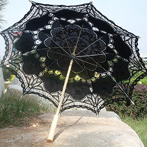 Ladeyi Lace Umbrellas, Handmade Bridal Parasol Umbrella Wedding Decoration (Black) by LADEY (Image #2)