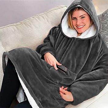 Supermar ket Huggle Hoodie grau Einheitsgr/ö/ße Alle softan Sherpa Hoodie Sweatshirt Decke Winter Weiche Warme Reversible Mit Kapuze Robe F/ür Innen Und Au/ßen
