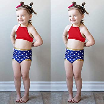 1829ed8247 Kingspinner Girls Two Piece Swimsuit Sling Backless Bikini Tops + Star Print  Shorts Bikini Set Swimwear
