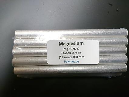 10 x Magnesio de electrodo 100 x 8 mm, Mg 99,97% pura