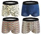Seaoeey Boys Mens Boxer Briefs 4 Pack Cotton Modern Breathable Underwear Mix Color3 Medium