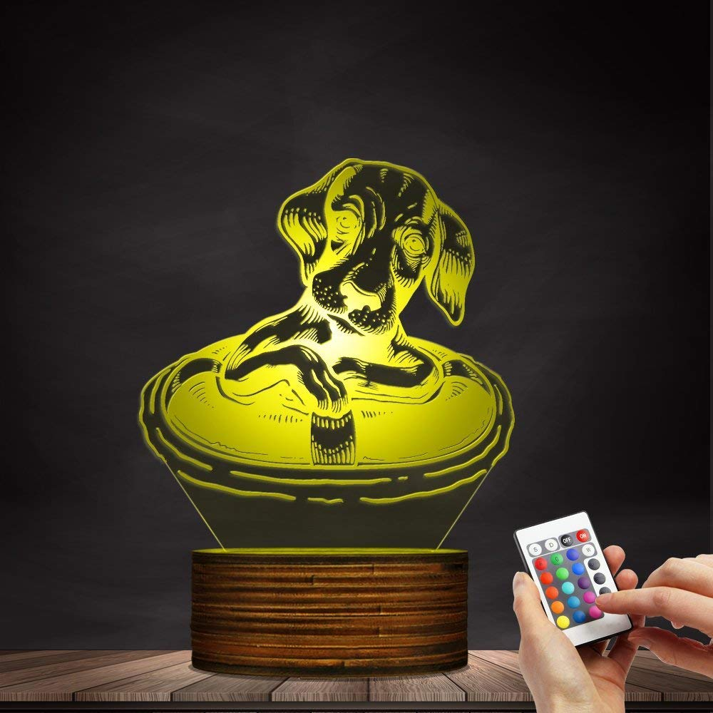 Novelty Lamp, Dachshund Dog with A Life Buoy 3D Night Light, Creative Table Lamp LED Illuminated Display with Remote Contolled Pet Lovers Gift Idea,Ambient Light by LIX-XYD (Image #5)