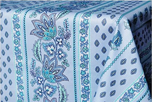 Le Cluny, Lisa Turquoise French Provence 100 Percent COATED Cotton Tablecloth, 60