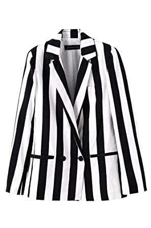 Black and white striped womens jacket