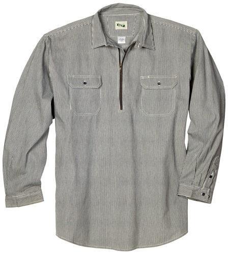 (Key Apparel Men's Big-Tall Long Sleeve Zip Front Hickory Stripe Logger Shirt, Hickory Stripe,)