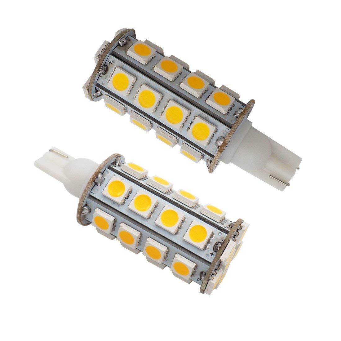 GRV T10 Wedge 921 194 30-5050 SMD LED Bulb Lamp Super Bright Warm White AC/DC 12V-24V Pack of 2