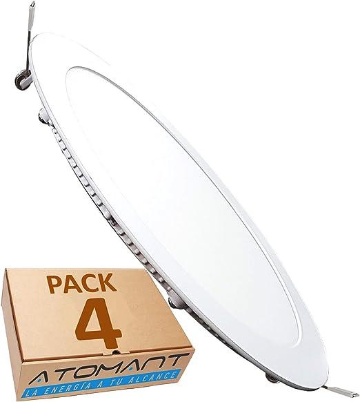LED ATOMANT, S.L. Pack 4X Panel Placa Downlight Led Redondo Plano ...