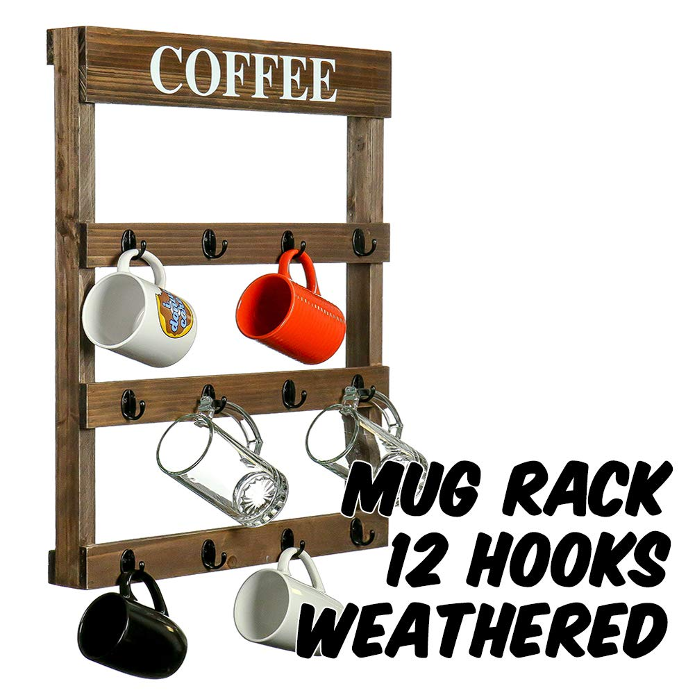 Markin Arts Rustic Distressed Torched Swedish Solid Pine Pallet Wood Wall Mount Coffee Beer Mug Hanger Rack Organizer Large 12 Cup Holder Shelf Wooden Home Decor Kitchen Display Furniture Weathered by Markin Arts