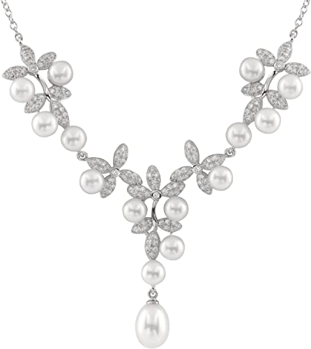 Handpicked AA Sterling Silver Rhodium-Plated Pendant//Chain Freshwater Cultured Pearls 17 Chain