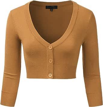 EIMIN Women's Button Down 3/4 Sleeve Cropped Bolero Cardigan Sweater (S-4XL)