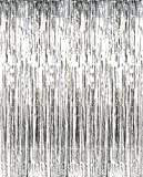 2 Pack 3 ft x 8 ft Metallic Silver Foil Fringe For Door, Window, Curtain, Wall Decoration - Party, Prom, Wedding, Birthday, Event Decorations