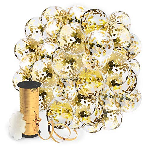 Flower Filled (Decopom Gold Confetti Balloons Curling Ribbon - Roll & Flower Clips 57 Pack | Premium 12 Inch Latex Party Balloons - Filled Round Golden Mylar Foil Dot Confetti Birthday, Wedding, Proposal)