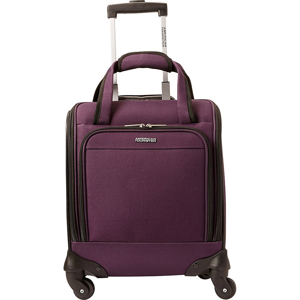 "American Tourister Lynnwood 16"" Underseat Spinner Carry-On Luggage With Wheels - (Eggplant) best personal item luggage"