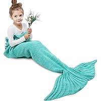 AmyHomie Mermaid Tail Blanket, Mermaid Blanket Adult Mermaid Tail Blanket, Crochet Kids Mermaid Tail Blanket Girls