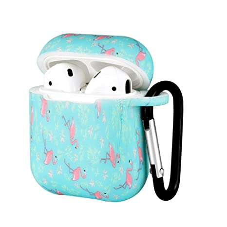 Compatible With Air Pods Protective Case, Portable Silicone Cover Shock Proof Protective Cover Skin With Sport Carabiner & Dustproof Plug Compatible With Apple Airpods Charging Case (Flamingo) by Hengkang