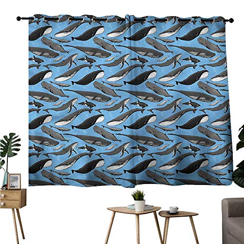 Anshesix Sliding Curtains Fish Whale Dolphin Orca Humpback Breathability W55 xL39 Suitable for Bedroom Living Room Study,etc