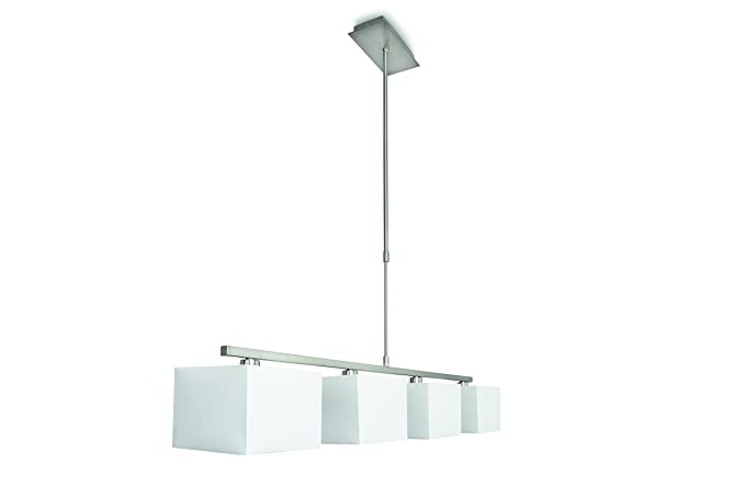 4 Ely Suspension Métal Salon 42 W Lampe X Blanc Philips De nOmvNw80