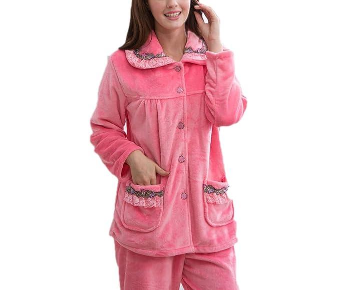 Invierno De La Mujer Grueso Borde Del Cordón Del Color Puro Pijamas Homewear Manga Larga Ropa