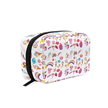 179c53c69f Amazon.com   Admirable Women Cute Unicorns Star Small Makeup Bag for  Portable Traveling Square Nylon black Cosmetic Pouch Kits Toiletry Bag    Beauty