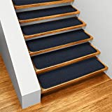 Set of 15 Skid-resistant Carpet Stair Treads - Navy Blue - 8 In. X 30 In. - Several Other Sizes to Choose From