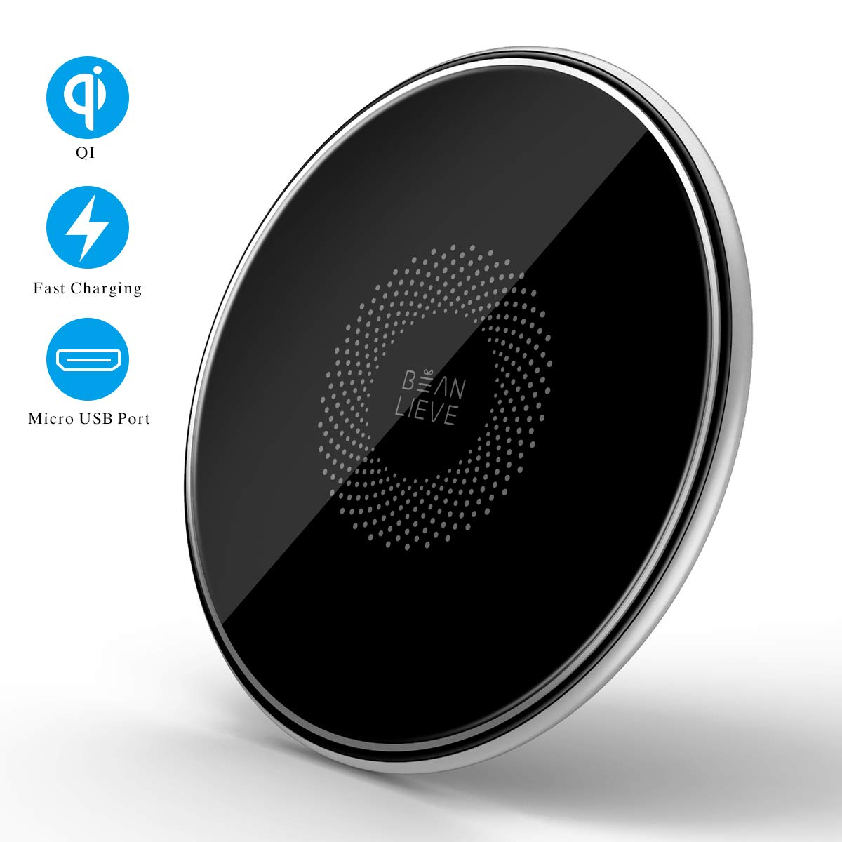 Beanlieve 10W Wireless Charger Qi-Certified - Metal Wireless Charging Pad Compatible with iPhone 11/11Pro/11Pro Max/X Max/XS/XR/X, Galaxy S10/S10+/S9/S9+/Note9 and More,LG G6+/G7/V35/V40