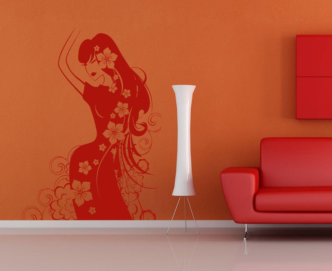 Beautiful Woman Beauty Salon Flower Spa Kids Room Children Stylish Wall Art Sticker Decal G8077